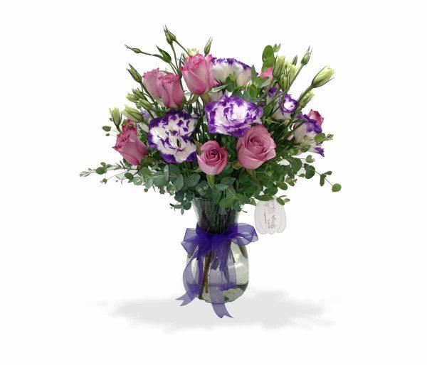 Arreglo floral con lisianthus
