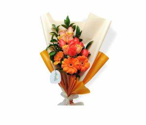 Bouquet con rosas y gerberas de llégale con flores
